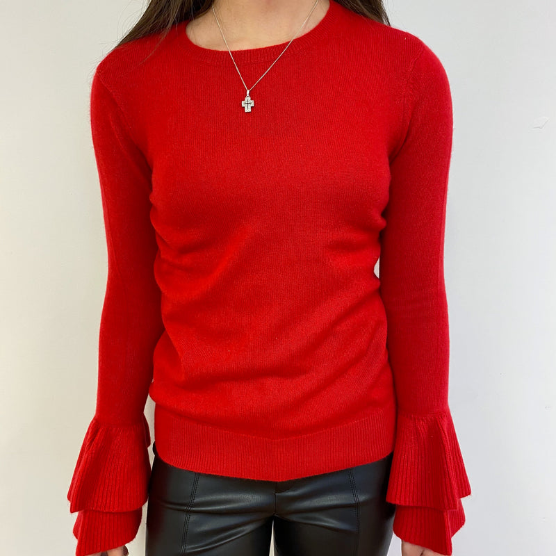 Postie Red Crew Neck Frill Sleeve Jumper Extra Small