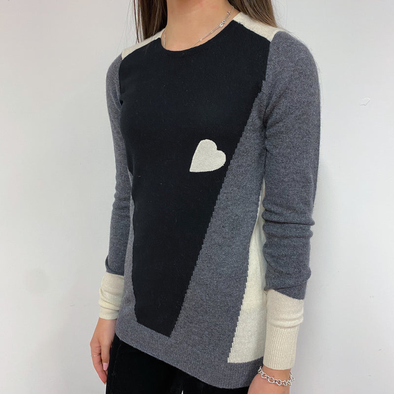 Monochrome Heart Detailed Colour Block Crew Neck Jumper Extra Small