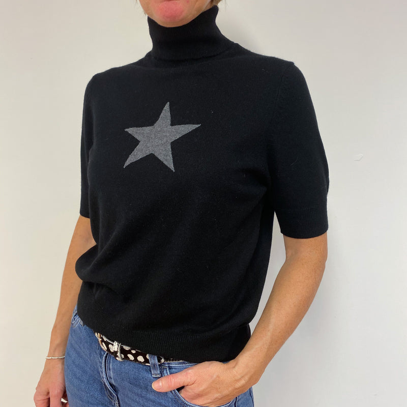 Black Star Short Sleeved Polo Neck Jumper Medium