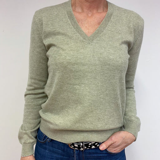 Pale Sage Green V Neck Jumper Medium