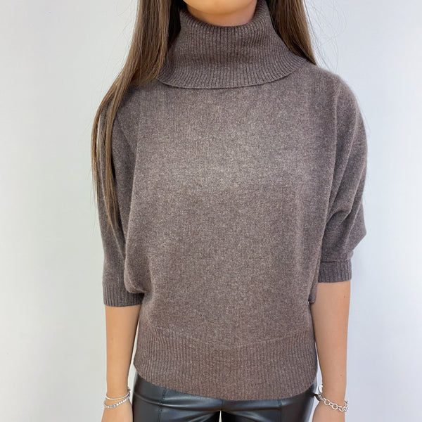 Cedar Brown Polo Neck Batwing Sleeve Jumper Extra Small
