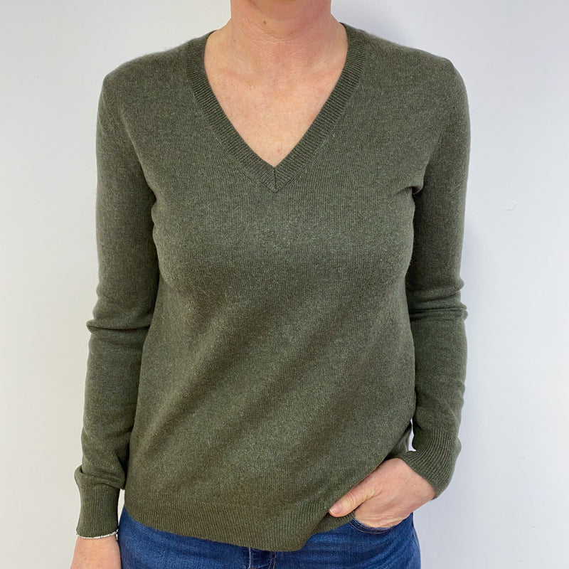 Khaki Green V Neck Jumper Medium