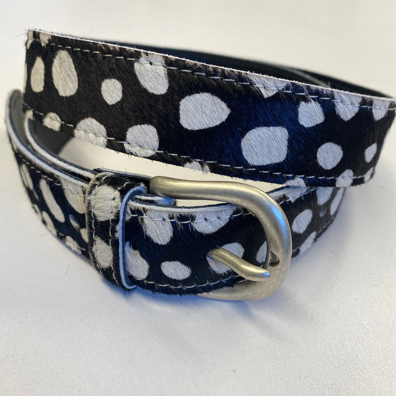 Leather and Hide Spotted Print Belt S/M