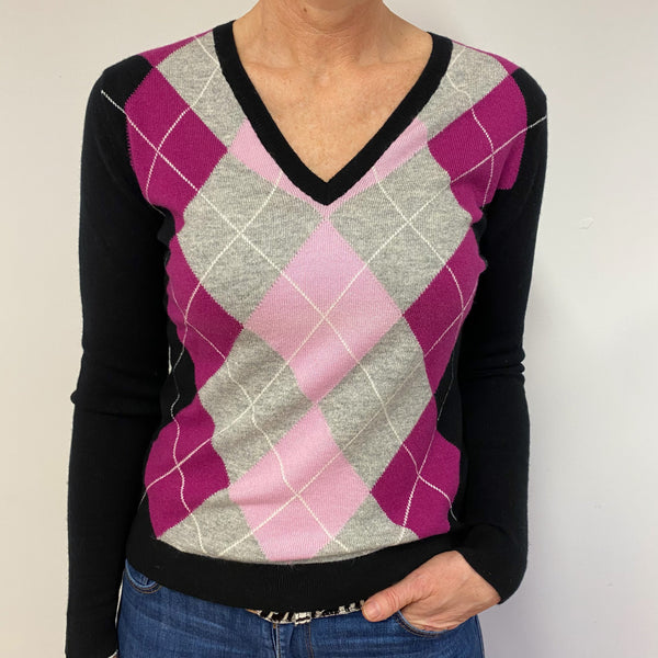 Brand New Pink/Black Diamond V Neck Jumper UK 14 Medium
