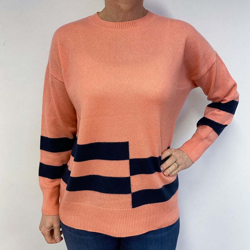 Peach and Navy Check Crew Neck Tunic Style Jumper Medium