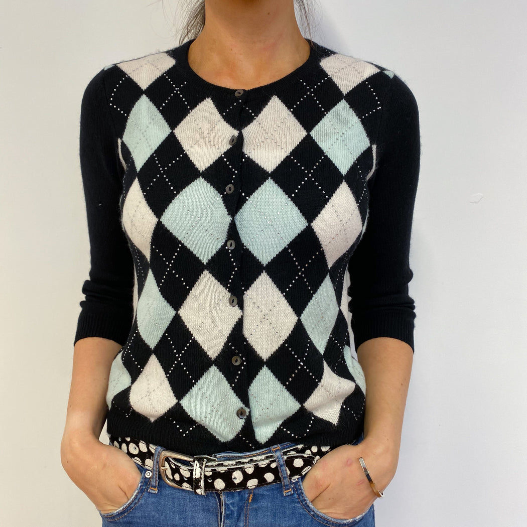 Sparkly Diamond Pattern Crew Cardigan Small