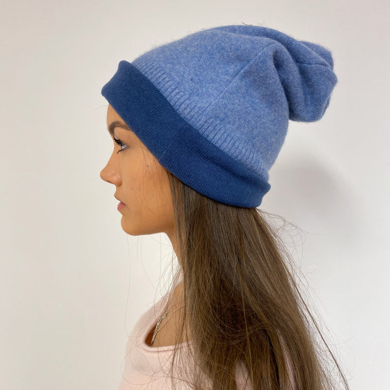 Reversible Deep and Pale Blue Hat