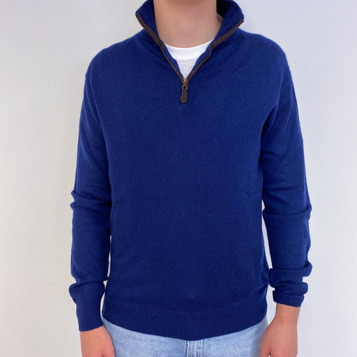 Men's Navy Blue Quarter Zip Jumper Small