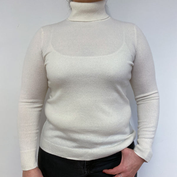 Ivory White Polo Neck Jumper Large