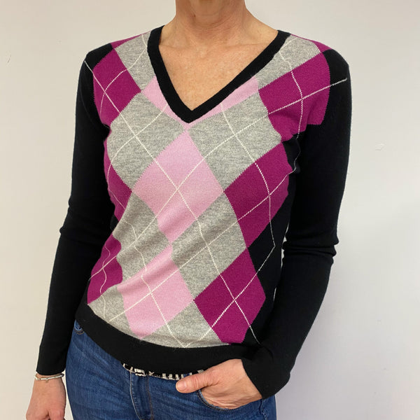 Brand New Pink/Black Diamond V Neck Jumper UK 12 Medium