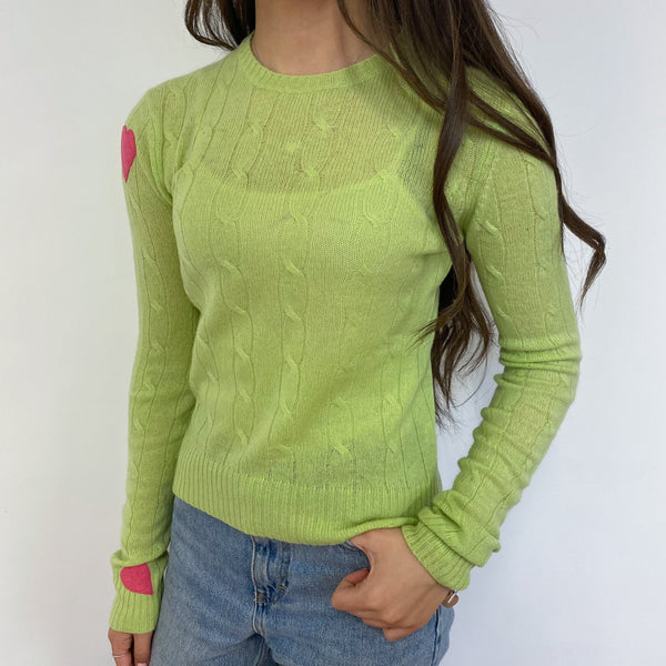 Lime Heart Detailed Crew Neck Lightweight Jumper Extra Small Petite