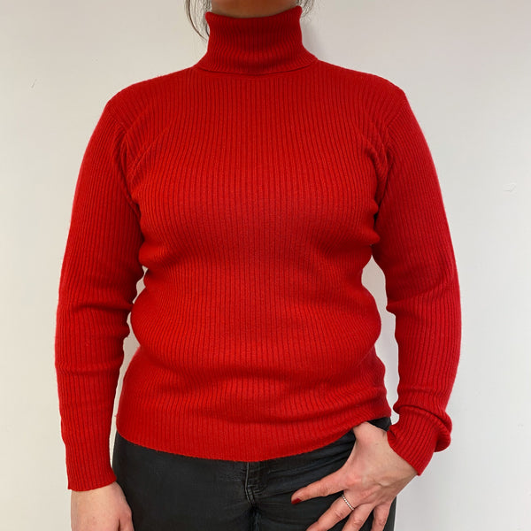 Postbox Red Ribbed Polo Neck Jumper Large