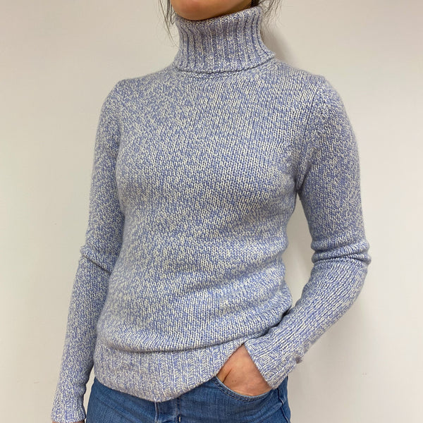 Powder Blue Marl Polo Neck Jumper Small