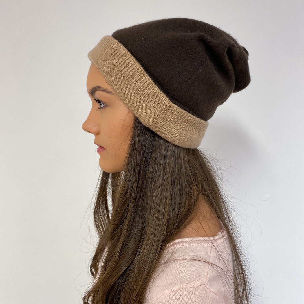 Reversible Chocolate Brown and Beige Hat