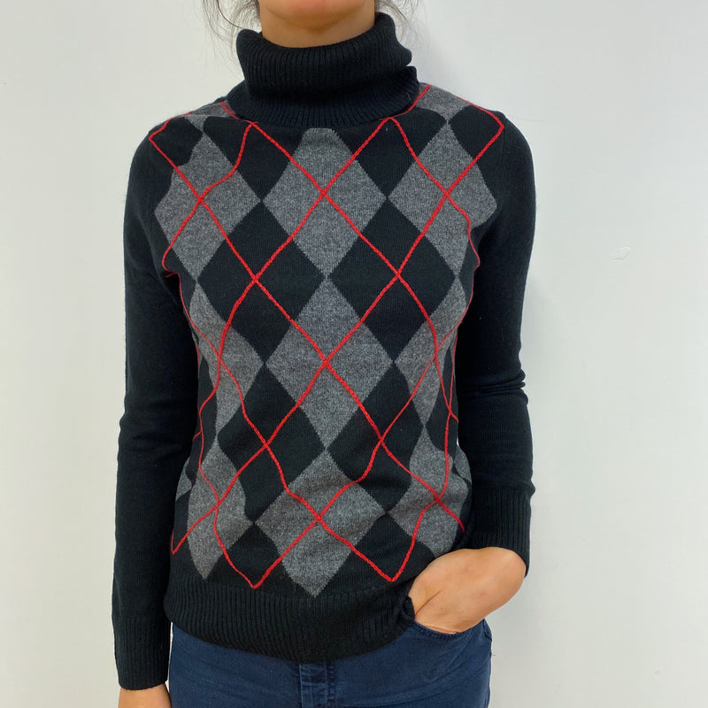 Black Argyle Patterned Polo Neck Jumper With Red Detailing Small