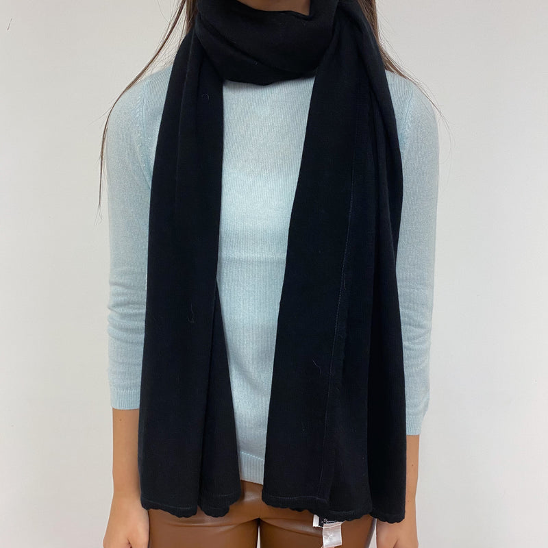 Black Mini Scalloped Edge Scarf