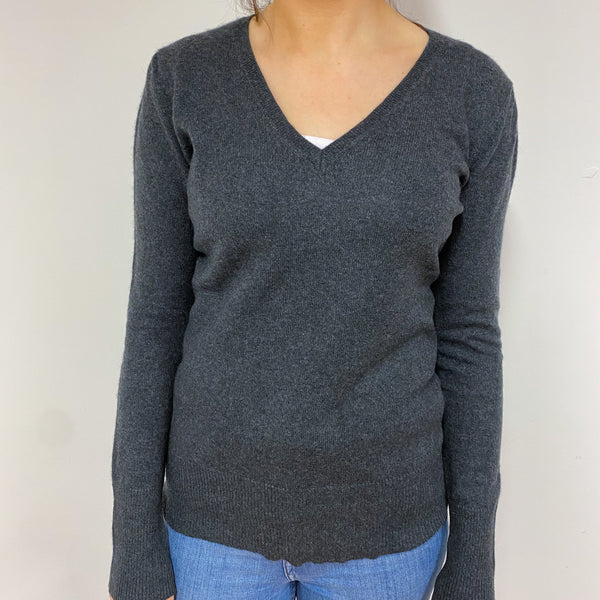Charcoal Grey V Neck Jumper Small