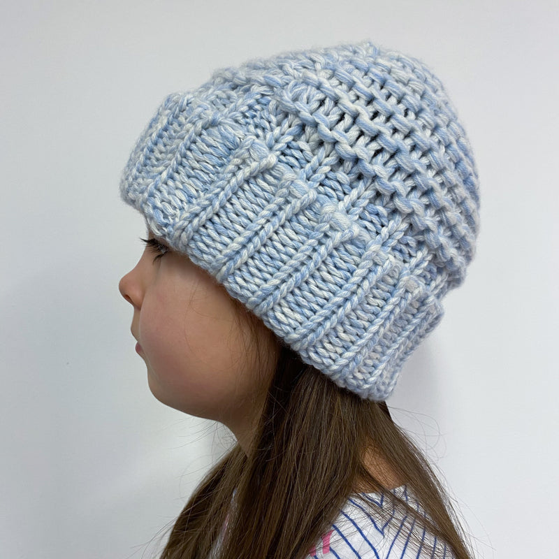*New* Children's One Size (Up To Age 11) Blue and White Hat