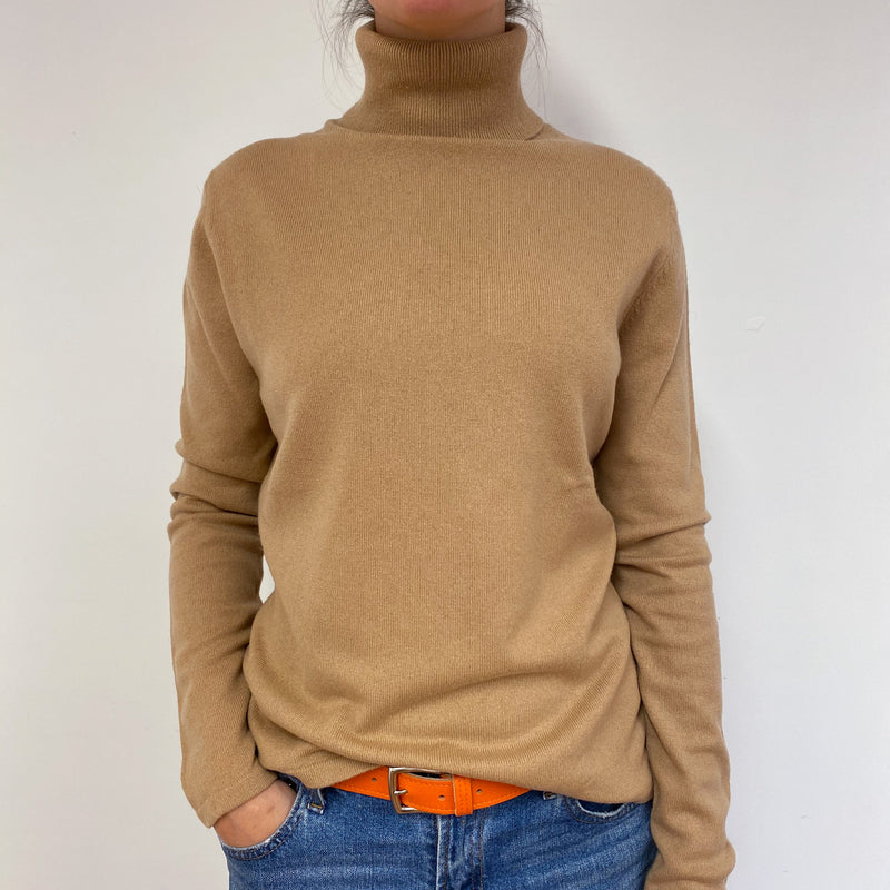 Warm Beige Polo Neck Jumper Medium