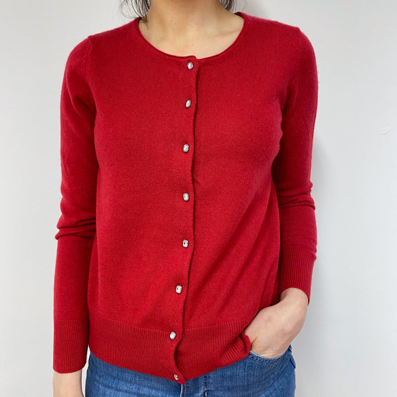 Postbox Red Crew Neck Cardigan Small