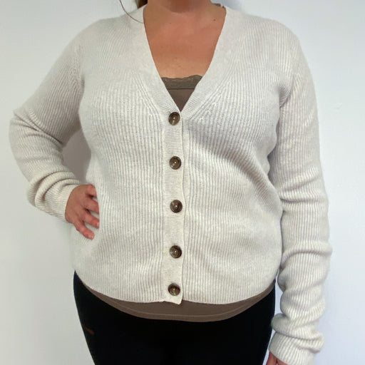 Brand New Pale Oatmeal V Neck Scottish Cardigan XL