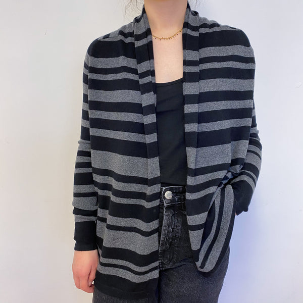 Charcoal and Black Stripe Edge to Edge Cardigan Small