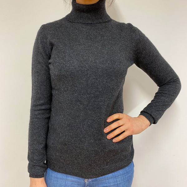 Classic Charcoal Grey Polo Neck Jumper Small