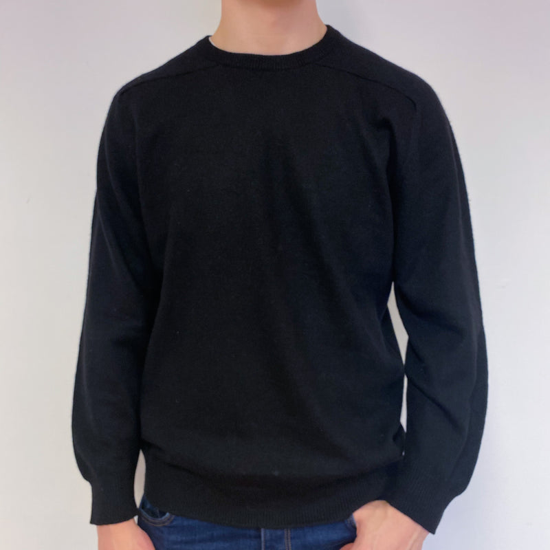 Men's Classic Black Crew Neck Jumper Extra Large