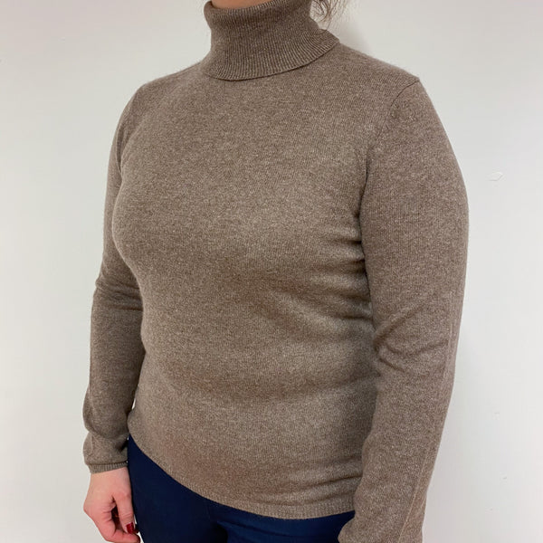 Cedar Brown Polo Neck Jumper Large