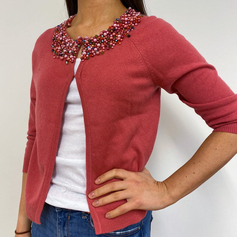 French Rose Pink Crew Neck Embellished Cardigan Small