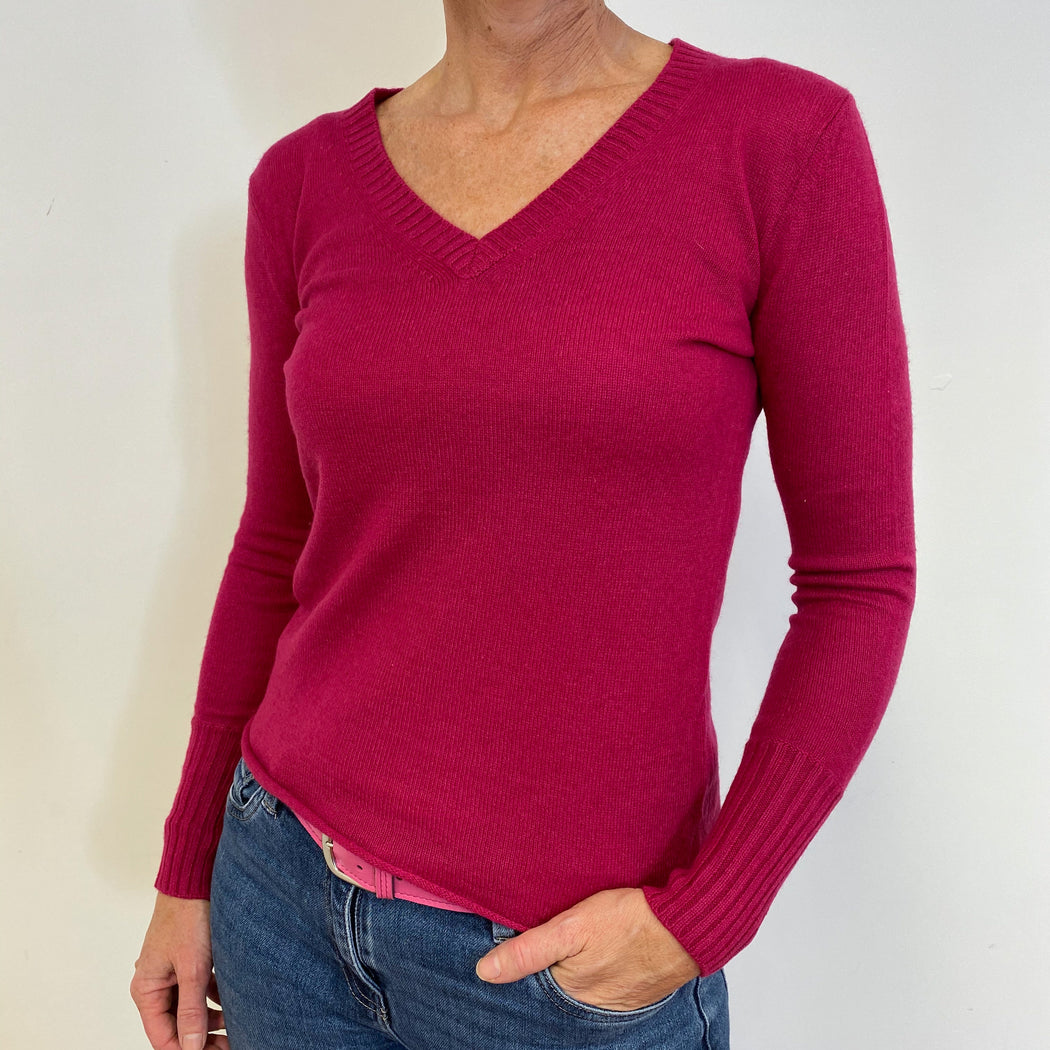 Raspberry Pink V Neck Jumper Medium