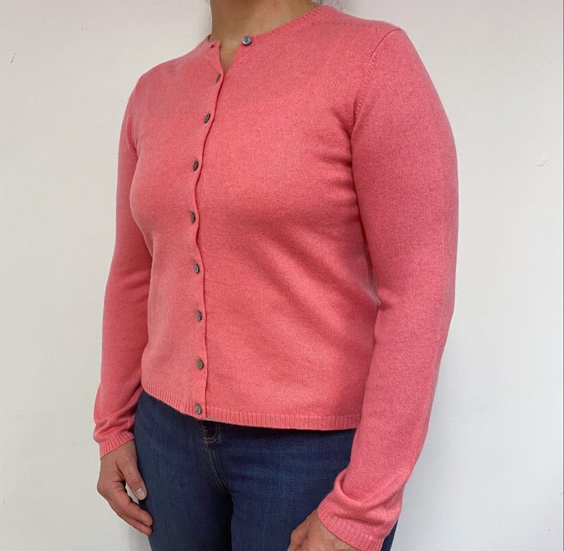 Strawberry Pink Crew Neck Cardigan Large