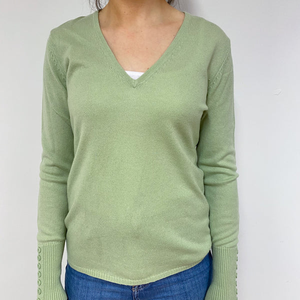 Pistachio Green V Neck Jumper Small