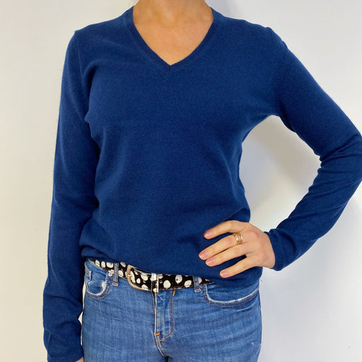 French Navy Neat V Neck Jumper Small