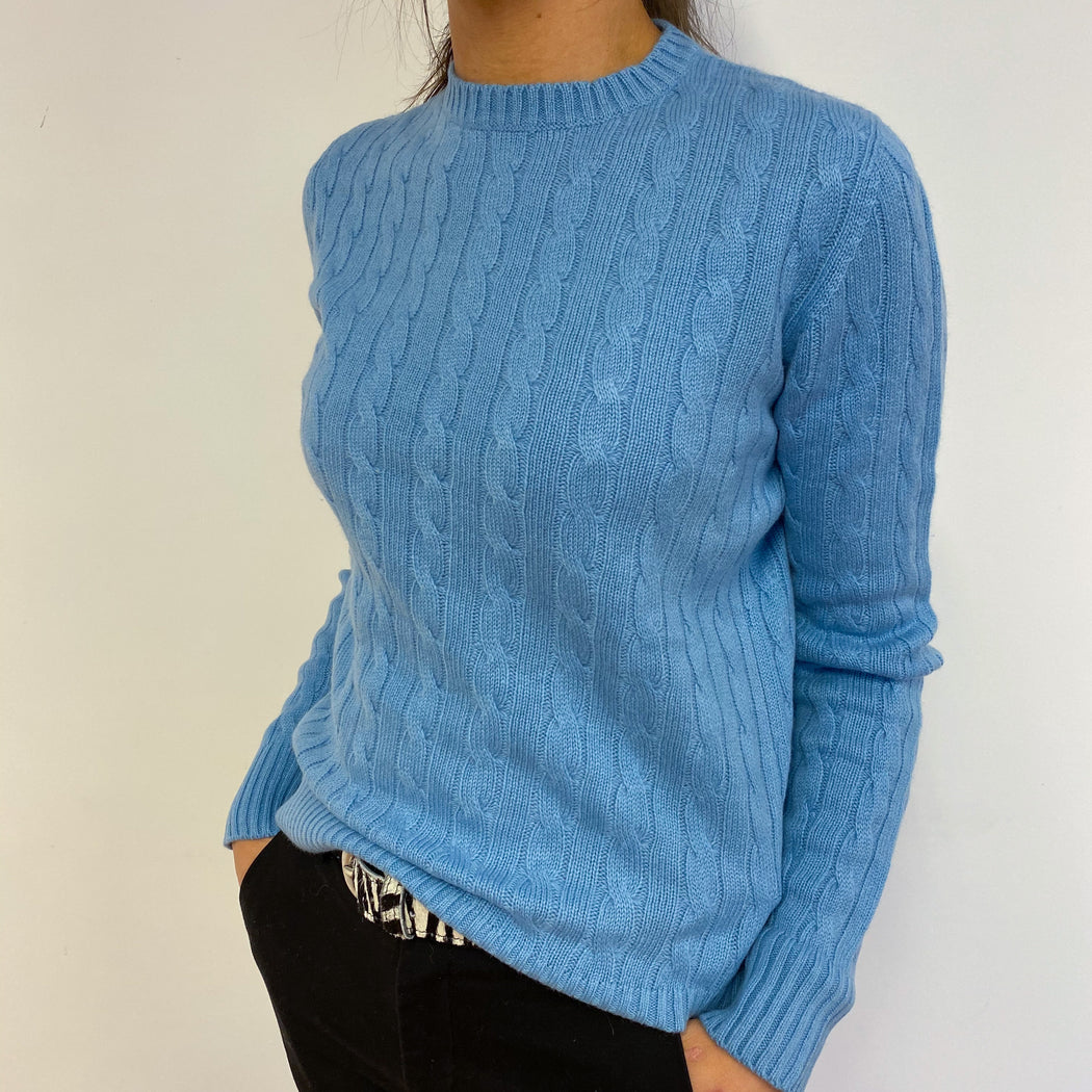 Cornflower Blue Cable Knit Crew Neck Jumper Small