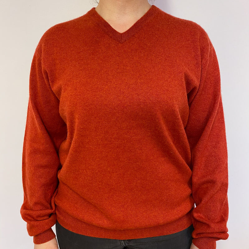 Burnt Orange Star Detailed Boyfriend V Neck Jumper
