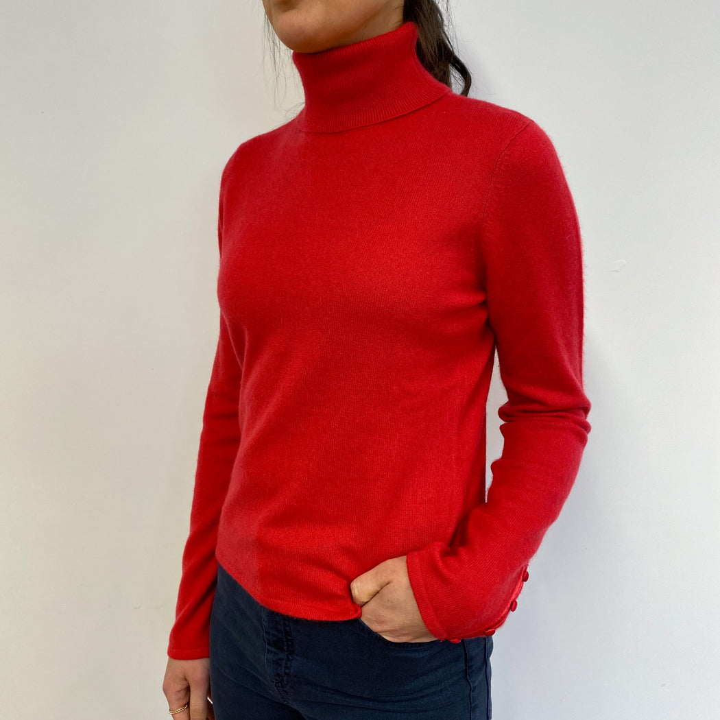 Scarlet Red Polo Neck Jumper Small