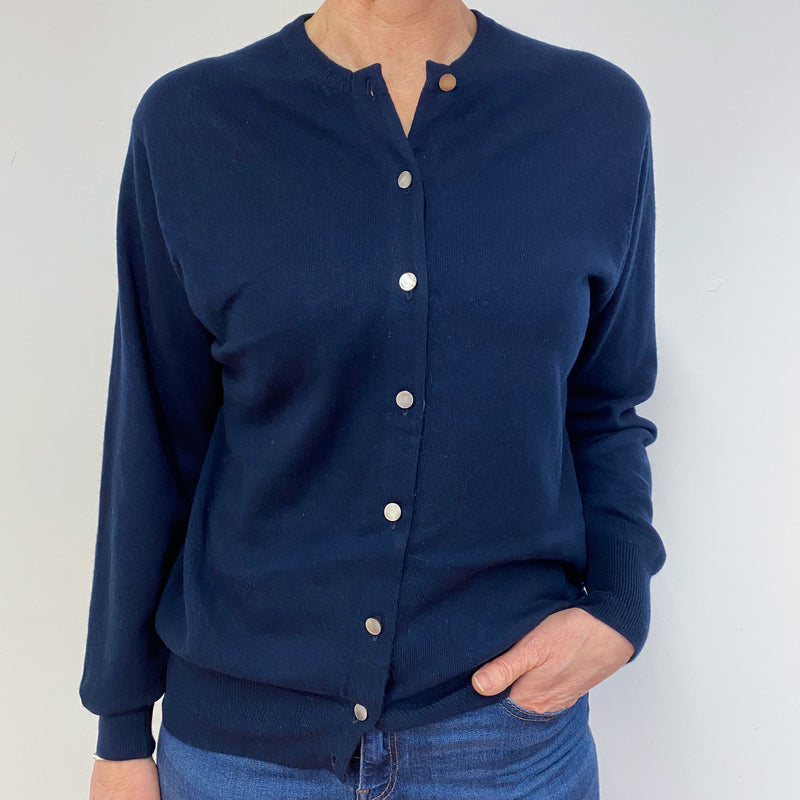 Navy Blue Crew Neck Cardigan Medium