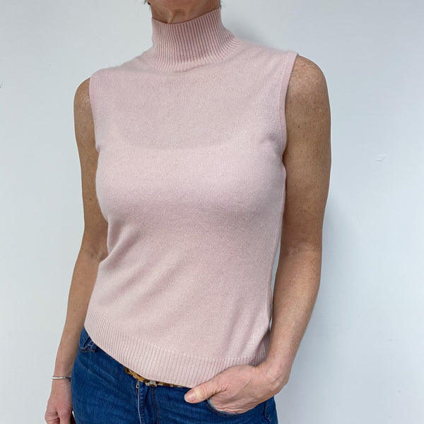 Palest Pink Sleeveless Polo Neck Jumper Medium