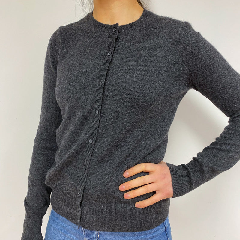 Charcoal Grey Crew Neck Cardigan Small