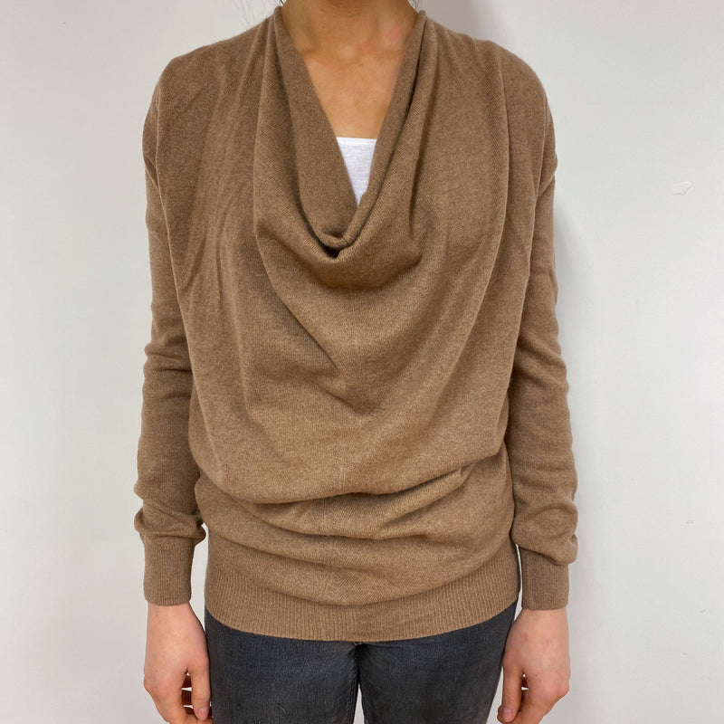 Deep Fawn Cowl Neck Jumper Small