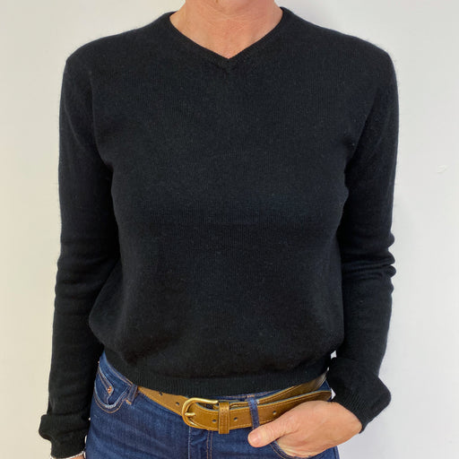 Classic Black V Neck Jumper Medium