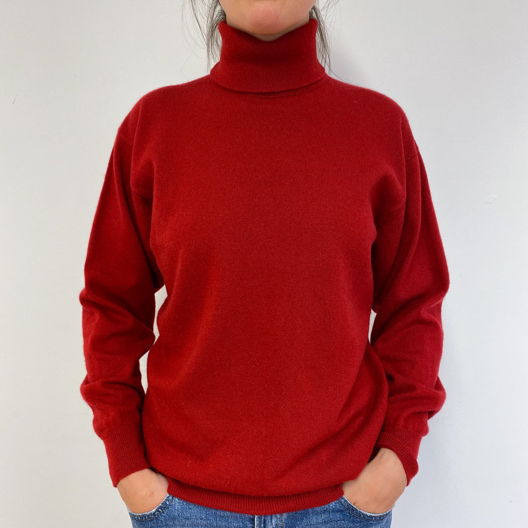Scottish Unworn Deep Red Polo Neck Jumper Medium