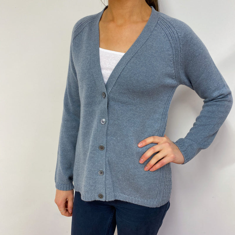Brand New Scottish Cashmere Pigeon Blue Cardigan Small