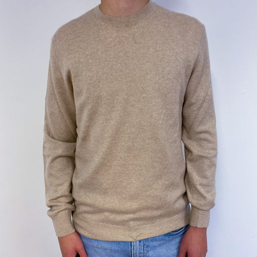 Men's Light Beige Crew Neck Jumper Small
