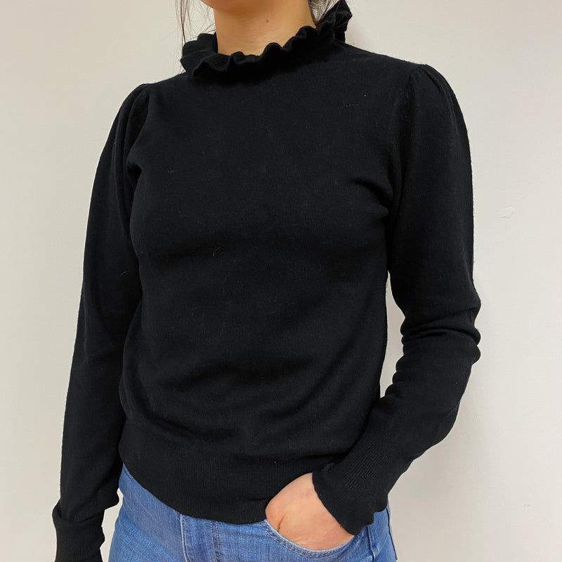 Black Ruffle High Neck Jumper Small