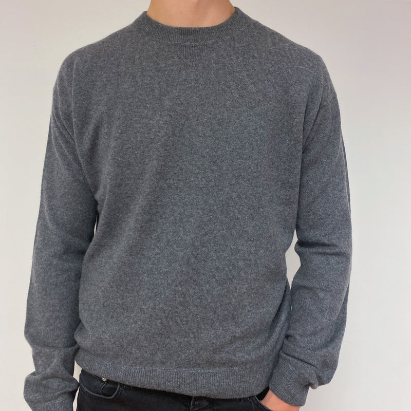 Men's Dark Grey Crew Neck Jumper XL