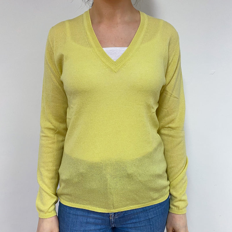 Brand New Scottish Primrose Yellow V Neck Jumper Small