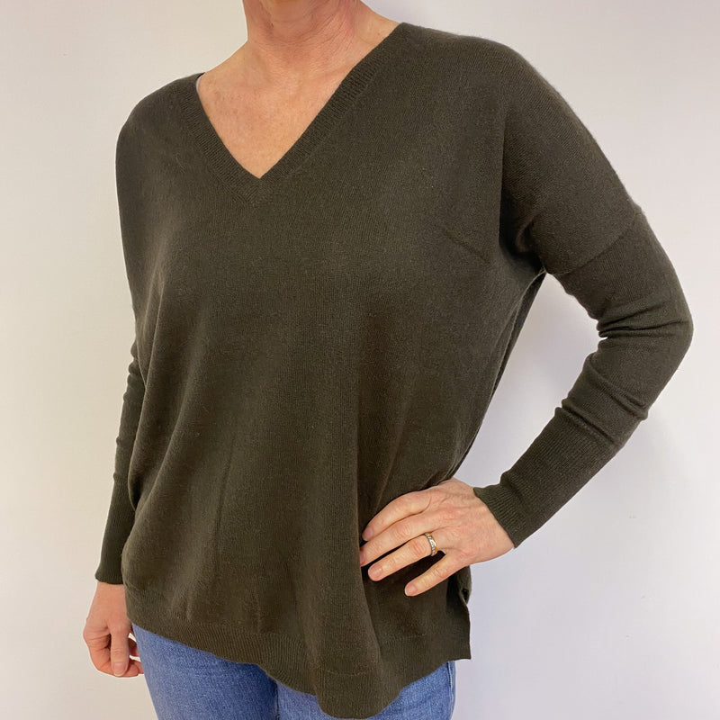 Espresso Brown V Neck Tunic Style Jumper Medium