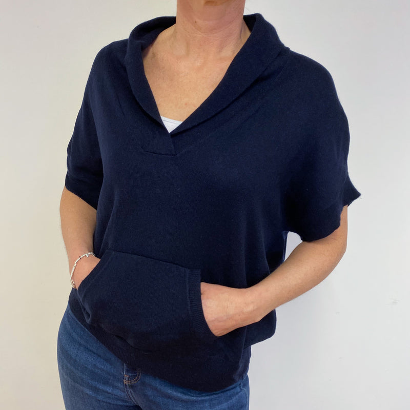 Navy Blue V Neck Slouchy Short Sleeve Jumper Medium